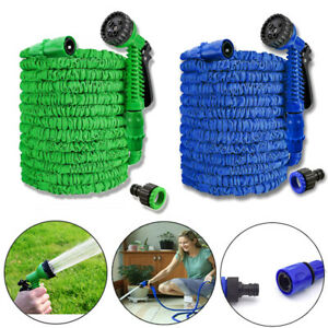 7-5m-45m-Flexibler-Wasserschlauch-Dehnbarer-Schlauch-Gartenschlauch-Gruen-Blau