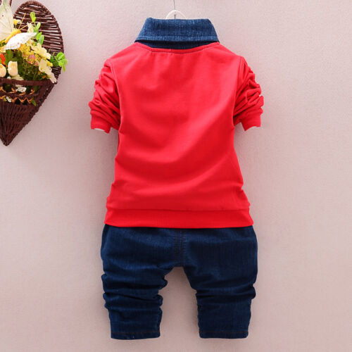 pants Casual Clothes Sets 2pcs Toddler Kids Baby Boys Denim Outfits tops