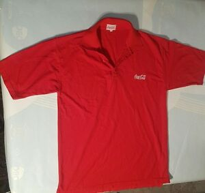 Coca-Cola-Polo-Shirt-Top-Short-Sleeve-Red-Size-Large