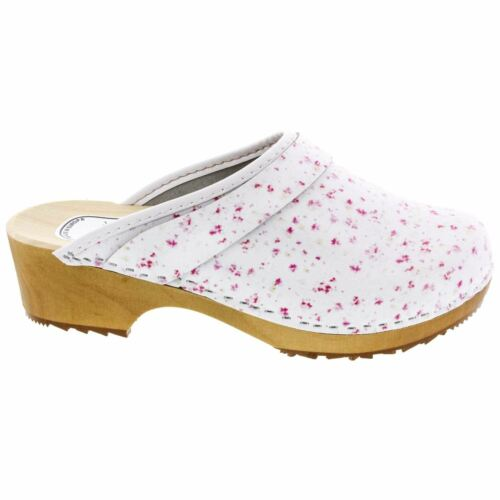 BJORK Lilly Wood Open Back Flower Print Leather Clogs