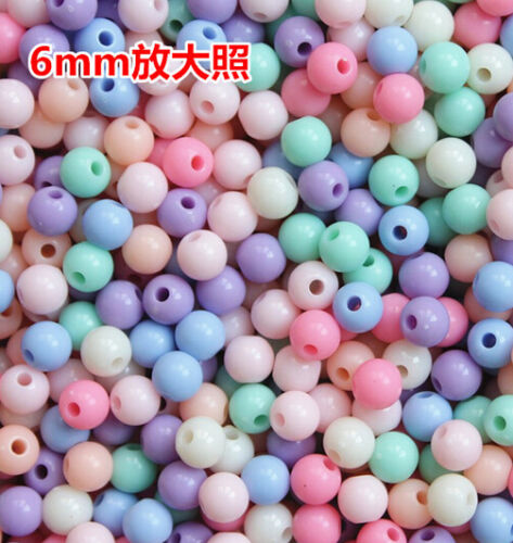 Wholesale 50//100//500//1000pcs 6--20mm round Candy color Pure color acrylic beads