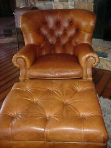 Fantastic Details About Ralph Lauren Brown Leather Iconic Writers Chair Ottoman Excellent Ncnpc Chair Design For Home Ncnpcorg