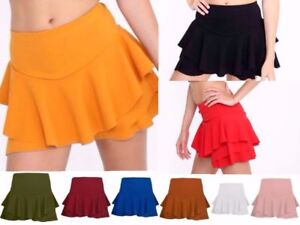 New Womens Plain Layered Ruffled Frill Skorts High Waisted Mini Skirt Shorts