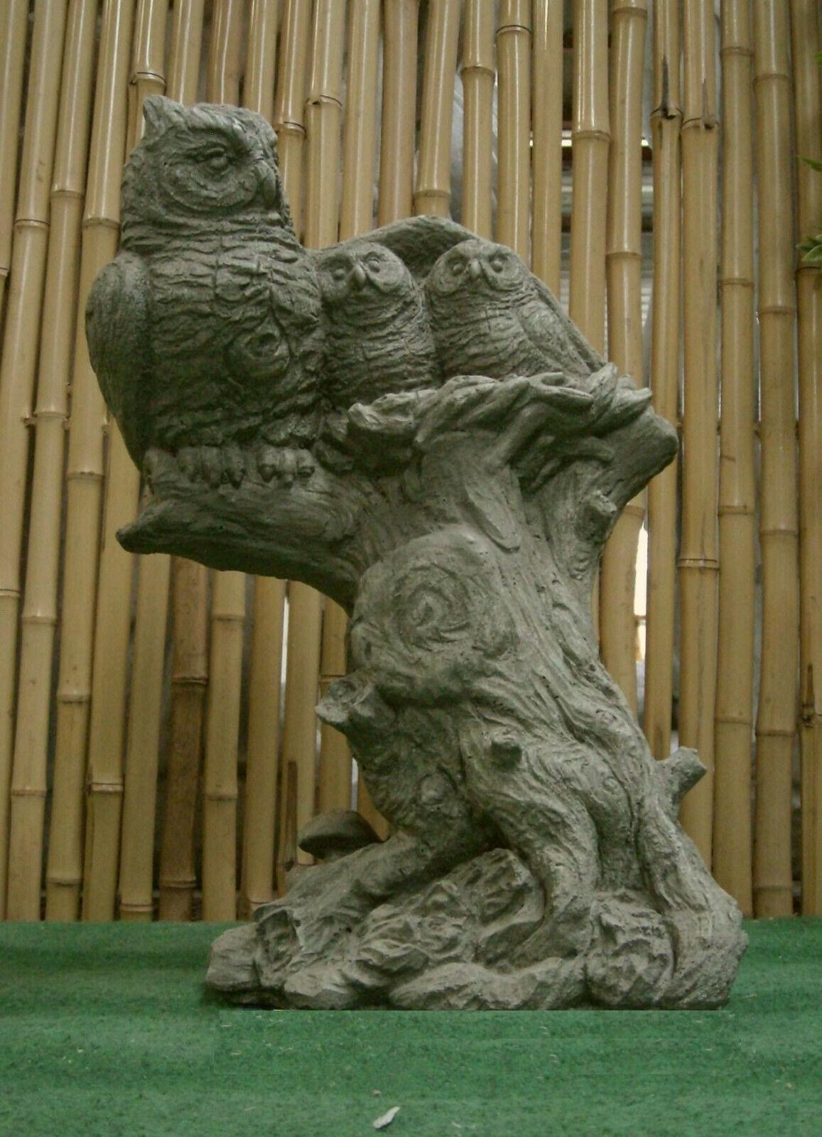 Lechuzas familia en tronco de árbol lechuzas animal personaje piedra fundición Frost Festival pájaro nuevo su-735