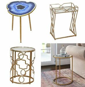 Image Is Loading Metal Round Side Table Small Gold Furniture Vintage