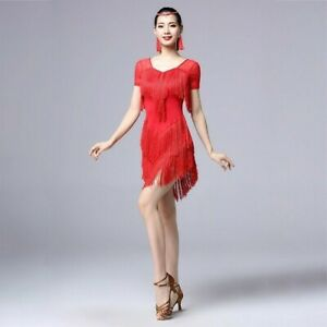 Women-Latin-Dance-Dress-Tassel-Salsa-Cha-Cha-Tango-Ballroom-Costume-Rumba-Modern