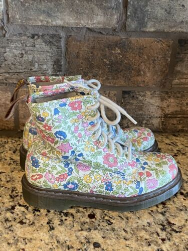 Doc Martin Air Wair Boots White Pink Blue Flowers