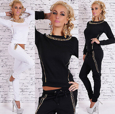 Sexy Women's 2-Piece Full Tracksuit Joggings With Gold Chain Leisure Suit HOT