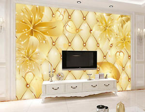 3D golden Diamond Plaid Petal 7 Wall Paper Wall Print Decal Wall AJ WALLPAPER CA