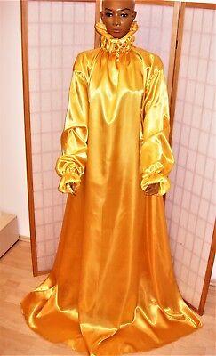 100% Vero Beautiful Lucentezza Satin Sissy Notte Abito Nylon Dame Vestito Kaftan Domani Cappotti Oro-mostra Il Titolo Originale