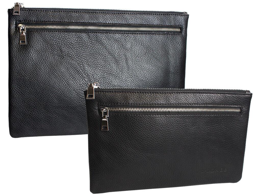 Geldtasche Banktasche Geldbörse Dokumententasche Portemonnaie schwarz / 2 Größen