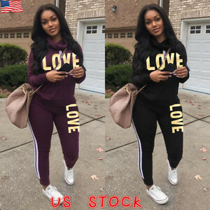 2Pcs-Women-Hoodie-Sports-Tops-Pants-Tracksuit-Sweatshirt-Sweat-Suit-Jogging-Sets