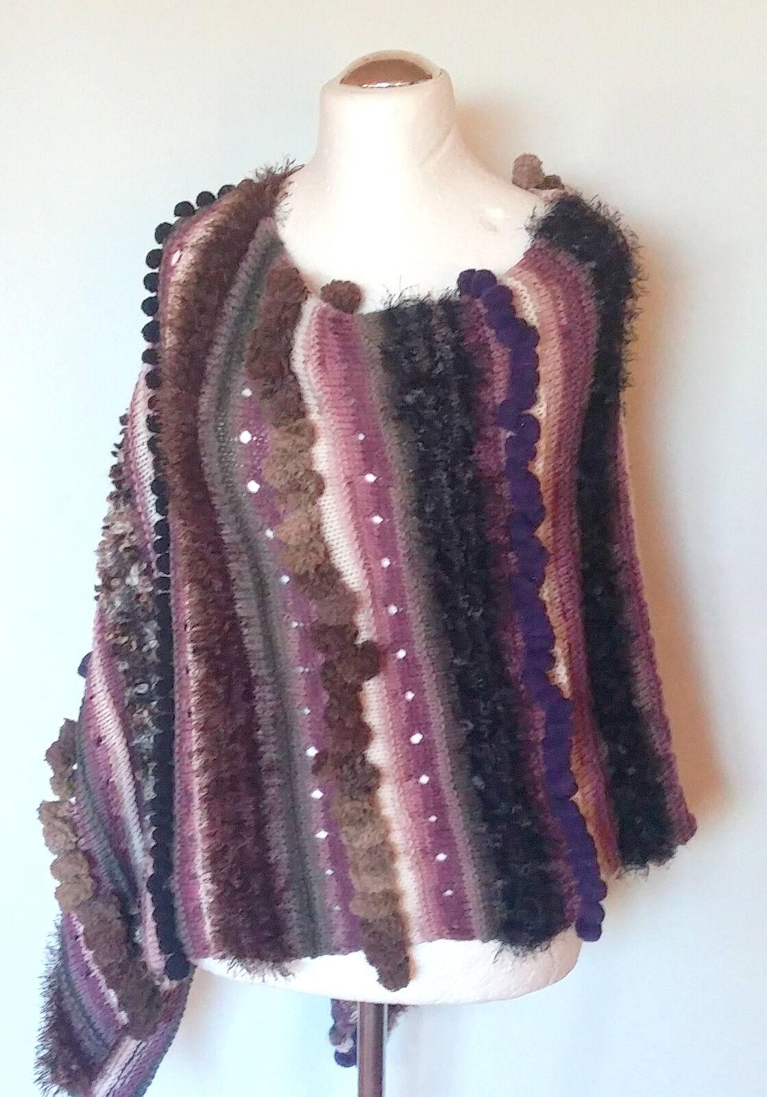 Cape Poncho bluee Purple Brown Hand Knitting Cape