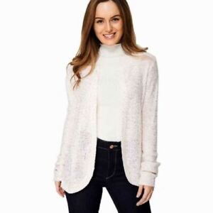 New-Sequin-Cardigan-Pink-Sparkly-Knitwear-Open-Front-Knitted-Silver