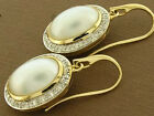 C941 Genuine 9ct Solid Gold Large Natural Mabe Pearl & Diamond Drop Earrings
