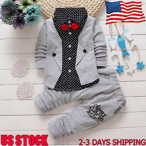 a8bcdb2d2e7bd 2PCS Toddler Kids Baby Boys Tuxedo Suit Gentry Party Christening ...