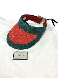 GUCCI RAFFIA VISOR HAT, M, $795