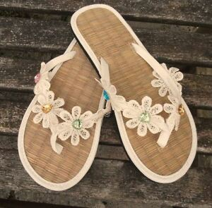 Wedding Or For Beach Flops Ivory Ladies Straw Flip xBzc4qXBZv