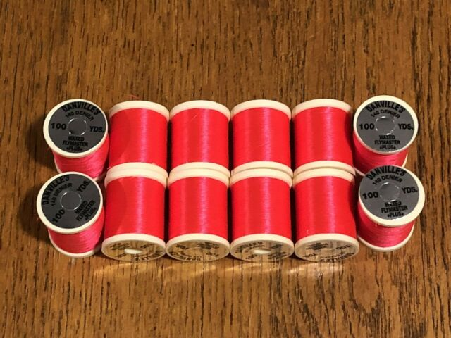 White 12 Spools Danville Size A Fly Tying Thread Red Olive /& Black