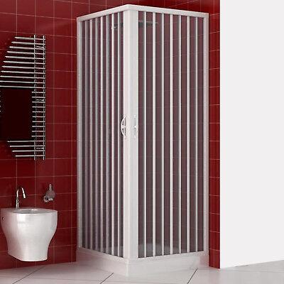 Box doccia 70x90 acrilico apertura a soffietto riducibile reversibile bianco new