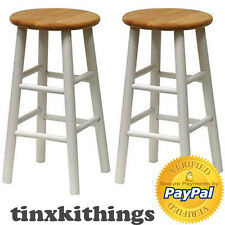 Counter Height Bar Stool High Chair Seat 24in Wooden Top Wood Kitchen  Island 2Pc