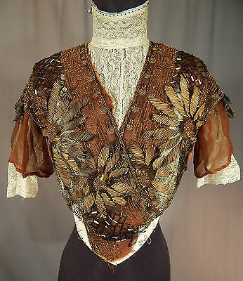 Victorian White Lace Brown Silk Gold Embroidered Bronze Beaded Bodice Blouse Vtg
