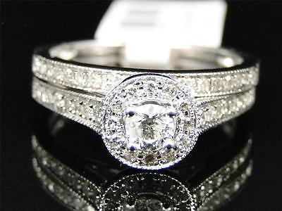 14K White Gold Round Cut Solitaire Diamond Engagement Wedding Bridal Ring Set