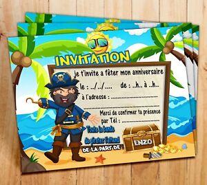 Cartes Invitation Anniversaire Pirate Avec Le Prenom De Votre Enfant Par 6 12 18 Ebay