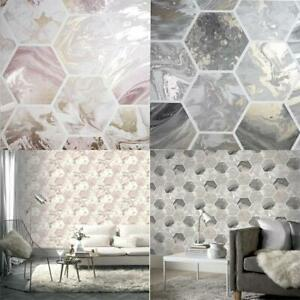 Arthouse Marbled Hex Metallic Geometric Wallpaper 2 Colours 10m Rolls