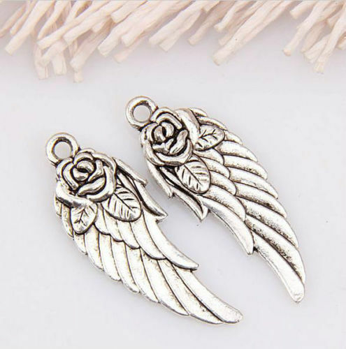 Free Ship 6//30pcs Antique Silver Rose Wing Charms Pendant for Jewelry 30x12mm