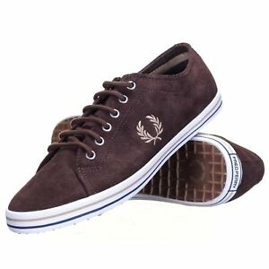 Details zu Fred Perry Men's Kingston Suede Leather Trainers Shoes B4268 325 Chocolate