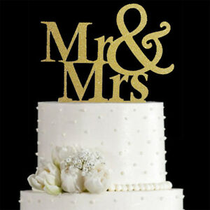 Mr /& Mrs Cake Topper in Gold Or Silver