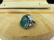 Turquoise Sterling Silver Leaf Ring Size 6 Estate Find Vintage