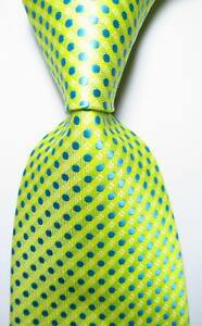 New-Classic-Polka-Dot-Yellow-Blue-White-JACQUARD-WOVEN-Silk-Men-039-s-Tie-Necktie