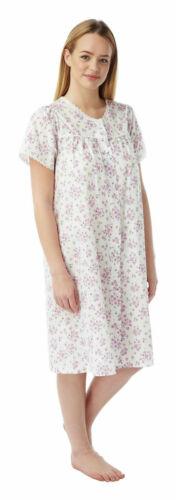 Women Marlon Poly Cotton Short Sleeve Buttoned Nightie Nightdress UK Size 10-30