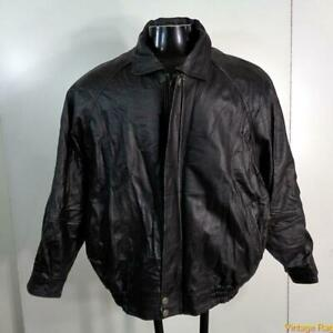 OSCAR-PIEL-Soft-LEATHER-JACKET-Mens-Size-XL-black-zippered-insulated-w-liner