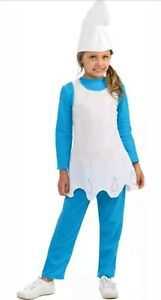 Smurfette-Smurfs-Blue-Kids-Small-4-6-Fancy-Dress-Up-Halloween-Child-Costume