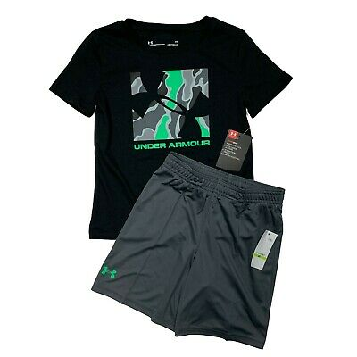 Under Armour Baby Toddler Boys Shorts Shirt Set Outfit Black Gray 2T 3T 4T NWT