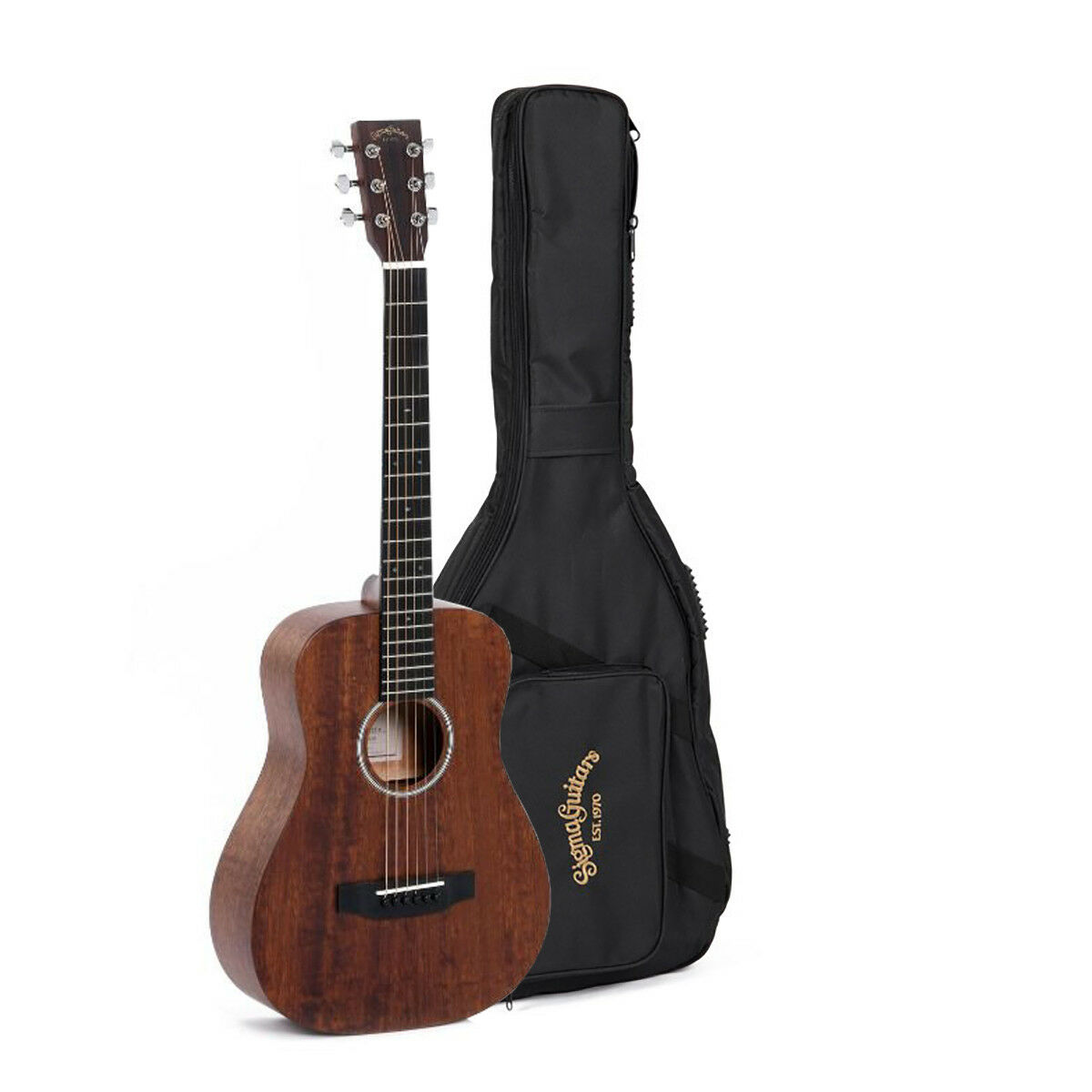 Sigma TM-15+ Acoustic Solid Mahogany Travel Guitar w Bag