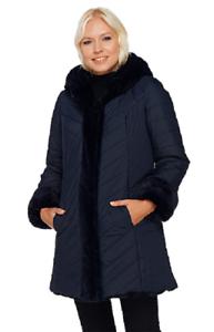 Dennis Basso Faux Fur & Water Resistant Puffer Reversible Coat, Size XXS,
