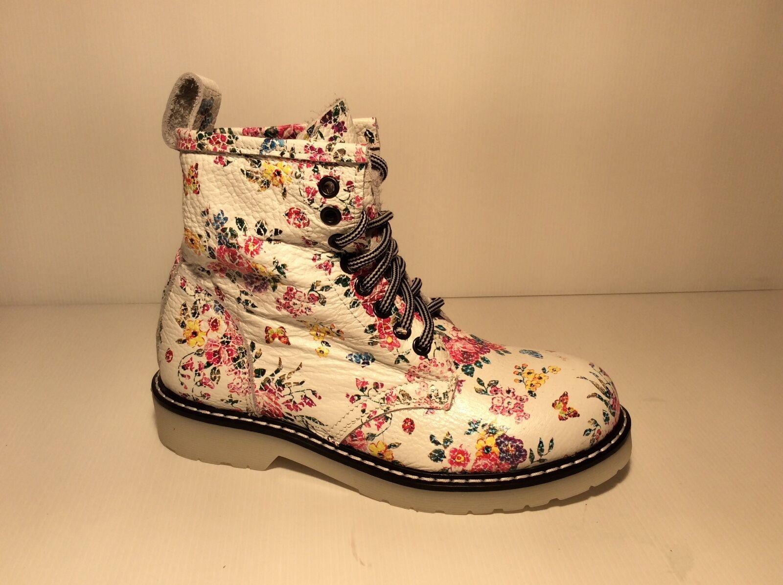 Schuhe Stiefel Frauen Leder Mode Blaumen Weiß Komfortabel Made in