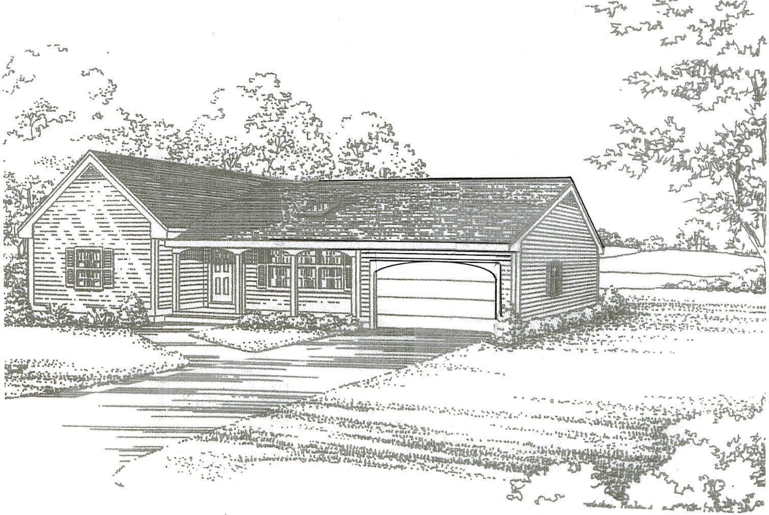 2 Bdrm 1 1 2 Bath 1440 SF   2 Car Garage Ranch Style House Design Building Plans