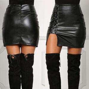 Fashion Ladies Women Black Leather Skirt High Waist Slim Party ...