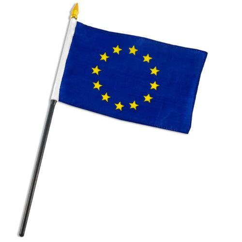 """sewn edges Europe European Union Flag 4/""""x6/"""" Desk Table Stick"""