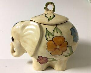 Vintage-Elephant-Cookie-Jar-Flowers-Cream-Unbranded-12x13-inches