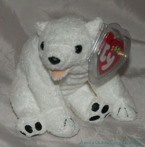 NEW-2000-TY-Beanie-Babies-Plush-6-034-White-Chenille-Soft-AURORA-The-POLAR-BEAR-Cub