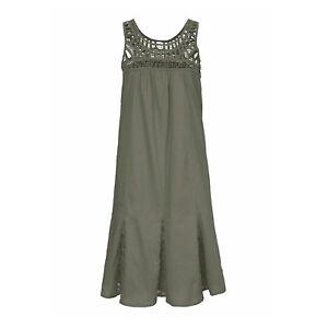 Gr-34-36-XS-S-Cotton-KHAKI-Sommer-Kleid-Baumwolle-Webkleid-Spitze-OLIV-Godet