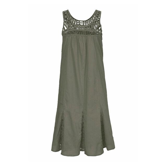 Gr.34/36 XS/S Cotton KHAKI Sommer Kleid Baumwolle Webkleid Spitze OLIV Godet