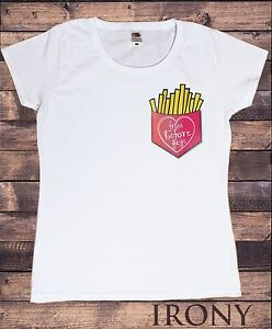 Womens White T Shirt Fries Before Guys Funny Slogan Pocket Design