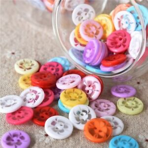 Resin Buttons Transparent flower Mixed color decoration sewing scrapbooking 100x